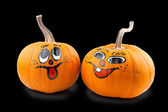 Pumpkins over black background — Stock Photo
