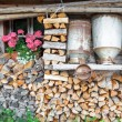 Decorative old milk cans of a mountain hut — Stock Photo