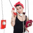 Stock Photo: Woman with 3 phones
