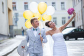Walking on a wedding day — Stock Photo