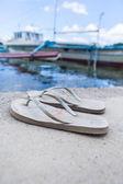 Abandoned flip flops on a shore — Stock Photo