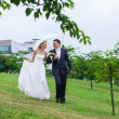 Rain rain go away not our wedding day — Stock Photo