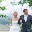 Rain on a wedding day — Stock Photo