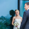 Bride looking at her groom — Stock Photo