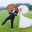 We have a sollution for rainy wedding day — Stock Photo