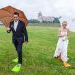 We have a sollution for rainy wedding day — ストック写真