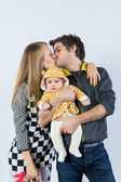 Give daddy a kiss — Stock Photo