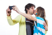 Give me a kiss in front of camera — Stock Photo