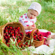 Little girl with strawberries  — Stock Photo