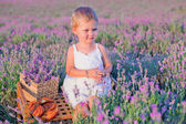 Smiling girl sitting at lavender field — Stock Photo