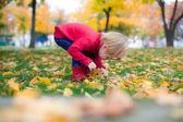 очаровательны девушка ищет что-то в осенний парк — Стоковое фото
