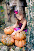 Pretty girl selebrating halloween — Stock Photo