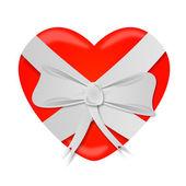 Coração amarrada com laço de fita — Fotografia Stock