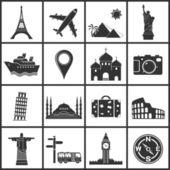 Landmarks & transportation icons — Stock Vector