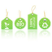 Green eco product tags — Stock Vector