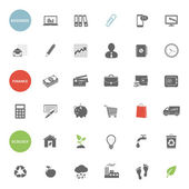 Business, finance and ecology icons set — Vettoriale Stock