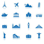 Travel and landmarks icons — Vecteur