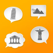 Speech bubbles with world sights signs. — Stock Vector