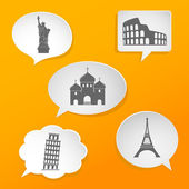 Speech bubbles with landmarks signs — Stock Vector