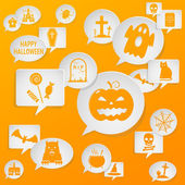 Speech bubbles with Halloween symbols — Stock Vector