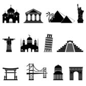 World sights icons set — Stock Vector