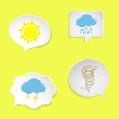 Speech bubbles with weather symbols — Stock Vector