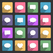Speech bubbles flat icons set — Stock Vector