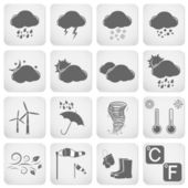 Weather icons, web buttons — 图库矢量图片
