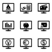 Monitor icons with finance signs on screen — Stock Vector
