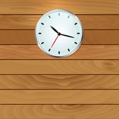 Wall clock on wooden background — Stock Vector