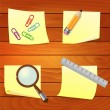 Office supplies on wooden background — Stock Vector #37745553