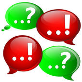 Question and answer marks with speech bubbles. — Stock Vector
