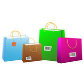 Colored shopping bags with bar-codes. — Stok Vektör