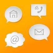 Speech bubbles with communication symbols. — Stock Vector
