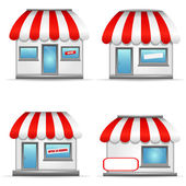 Shop icons with red awnings. — Vettoriale Stock