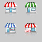 Söta butik ikoner med röda markiser. — Stockvektor