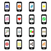 Smart-phone icons with social media signs — Stock Vector