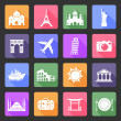 Travel and landmarks flat icons — Stock Vector
