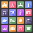 Travel and landmarks flat icons — Stock Vector #38316791
