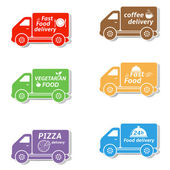 Fast food delivery car icons — Vettoriale Stock