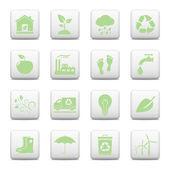 Botones web, iconos de ecología — Vector de stock