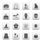 Web buttons, Halloween icons — Stock Vector