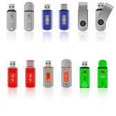 Set of USB pen drive memory — Stockvektor