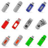 Set of USB pen drive memory — Stock Vector