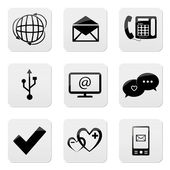 Web buttons, communication icons set — Stock Vector
