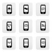 Web buttons, smartphone icons — Stock Vector