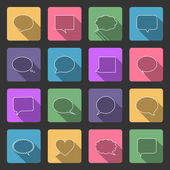 Comic style speech bubbles flat icons — Stock Vector