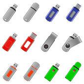 Set of usb pen drive memory — ストックベクタ