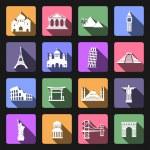 Landmarks flat icons set — Stock Vector