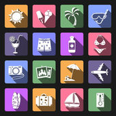 Vacation flat icons set — Stock Photo